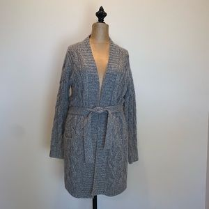 Gap chunky gray Cable-knit belted sweater #3443